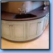 Curved granite kitchen worktop