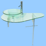 Glass basin on glass worktop