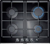 A 4-ring gas hob in black