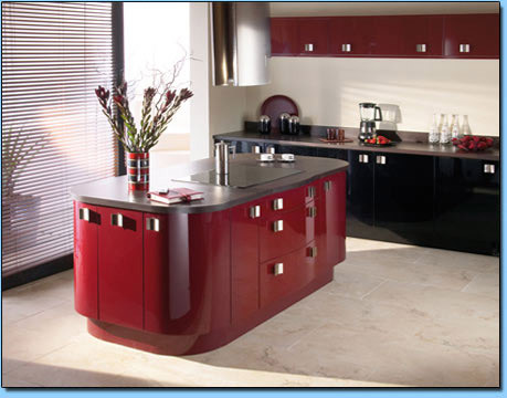 High gloss curved red kitchen