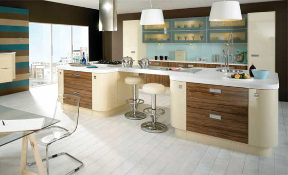 Kitchen as Ultra High Gloss in Vanilla & Olivewood